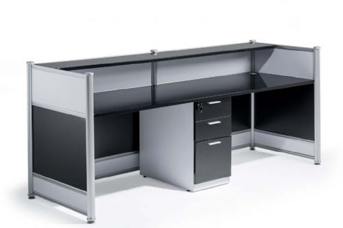 High Gloss Reception Desk 2485mm Wide Counter Contrasting Panels Black and White High Gloss Finish